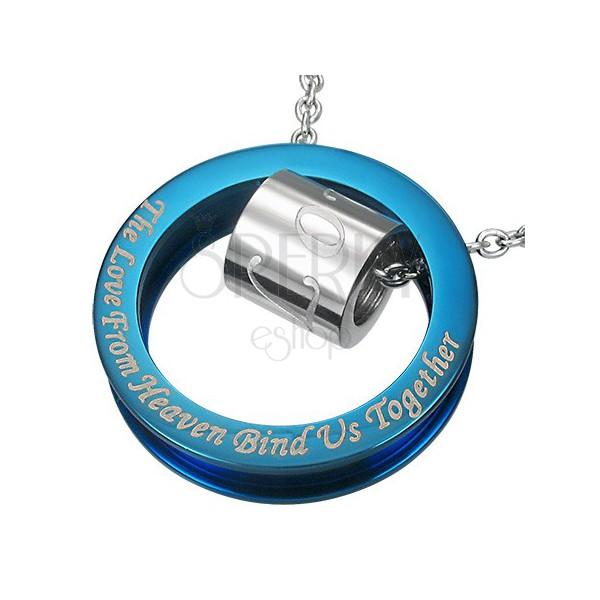 Niebiesko-srebrna stalowa zawieszka - cytat o miłości