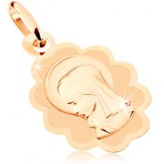 Wisiorek w 9K złocie - matowa blaszka z Maryją Panną, lśniąca dekoracyjna obwódka
