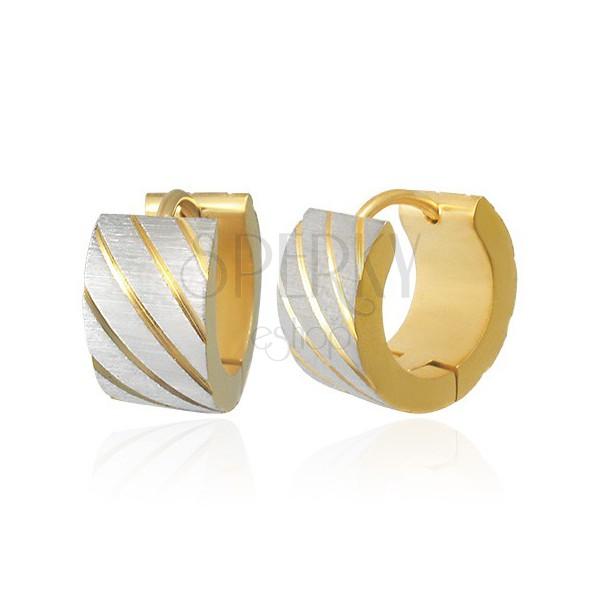 Stalowe kolczyki okrągłe - diagonalnie szlifowane