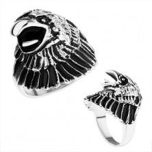 Masywny pierścionek ze stali 316L, głowa orła z patyną, lśniące ramiona