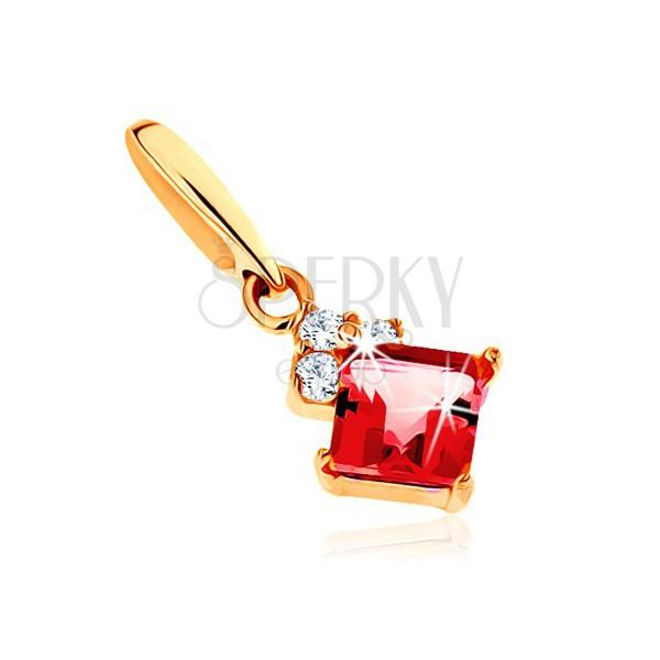 Wisiorek z żółtego złota 14K, kwadratowy czerwony granat, przezroczyste cyrkonie