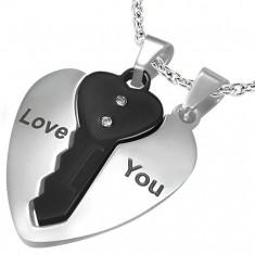 Stalowe wisiorki dla par, serce srebrnego kolor i czarny kluczyk