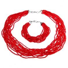 Zestaw, bransoletka i naszyjnik, małe koraliki, czerwony kolor