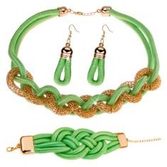 Komplet kolczyków, naszyjnika i bransoletki, pleciony sznurek, pistacjowo zielony kolor