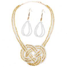 Zestaw - kolczyki i naszyjnik, koraliki - złoty i biały kolor, pleciony ornament