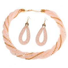 Zestaw naszyjnika i kolczyków, jasno różowa siatka z przejrzystymi kryształkami, łańcuszki