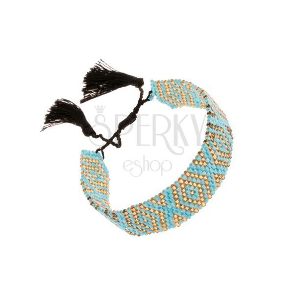 Regulowana bransoletka, lśniące koraliki, turkusowo-żółty kolor, czarne sznurki