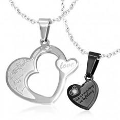 Podwójny wisiorek dla pary, stal 316L - serca srebrnego i czarnego koloru, cyrkonie