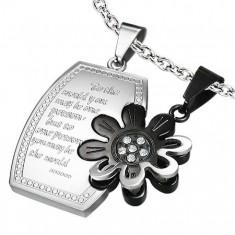 Stalowy podwójny wisiorek, lśniący prostokąt z kwiatkiem, srebrny i czarny kolor