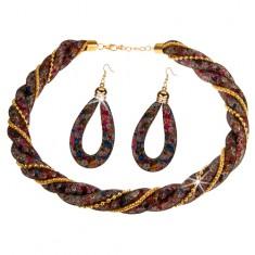 Zestaw, kolczyki i naszyjnik, czarna otoczona siatka, kolorowe kryształki, łańcuszki