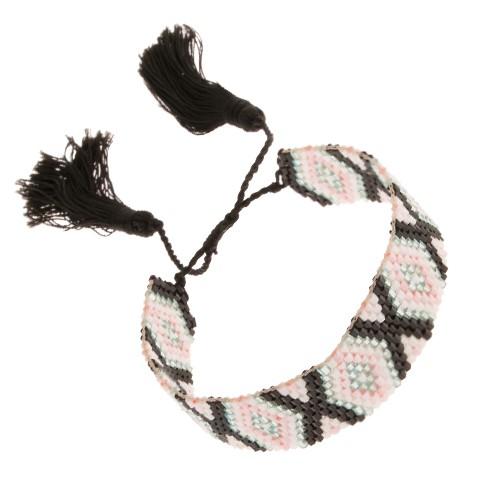 Regulowana bransoletka z koralików romby szarego różowego i czarnego koloru