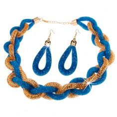 Zestaw - naszyjnik i kolczyki, gruby pleciony łańcuszek, niebieska siatka z koralikami