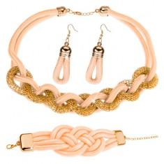 Komplet naszyjnika, bransoletki i kolczyków, plecione sznurki, kremowożółty kolor