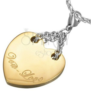 Dwukolorowa stalowa zawieszka - serce z napisem Vow Love