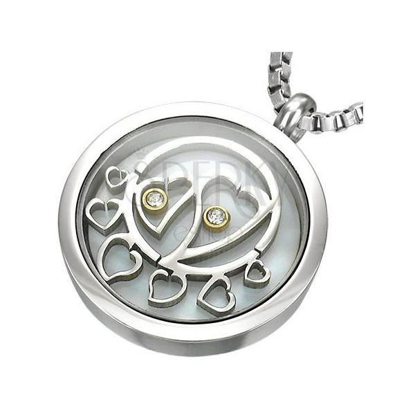 Okrągła stalowa zawieszka, wewnątrz serduszka z cyrkoniami