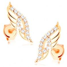 Kolczyki w żółtym 14K złocie - błyszczące anielskie skrzydło zdobione przejrzystymi cyrkoniami