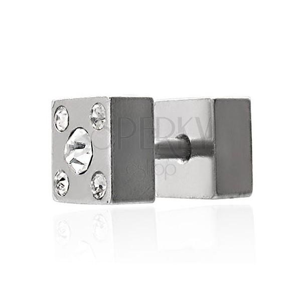 Fake plug dwustronny - kwadrat z cyrkoniami