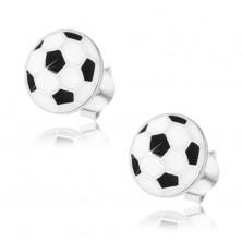 Srebrne kolczyki 925, płaska piłka do piłki nożnej, czarna i biała emalia