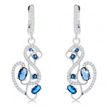 Kolczyki ze srebra 925, ornament - łabędź ozdobiony niebieskimi i bezbarwnymi cyrkoniami