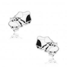 Sztyfty ze srebra 925, biało-czarne buty piłkarskie