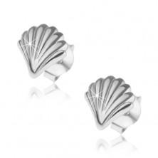 Kolczyki ze srebra 925, lśniąca muszla z grawerowaną powierzchnią, sztyfty