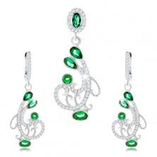 Zestaw kolczyków i wisiorka, srebro 925, ornament - spirale, przejrzyste i zielone cyrkonie