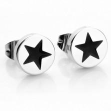 Okrągłe stalowe kolczyki w srebrnym kolorze, czarna gwiazdeczka