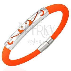 Okrągła, pomarańczowa, gumowa bransoletka - ornament
