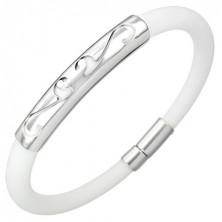 Biała, okrągła, gumowa bransoletka - ornament