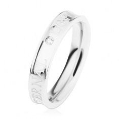 Stalowy pierścionek srebrnego koloru, wydrążony środek, przezroczysta cyrkonia, ETERNAL LOVE
