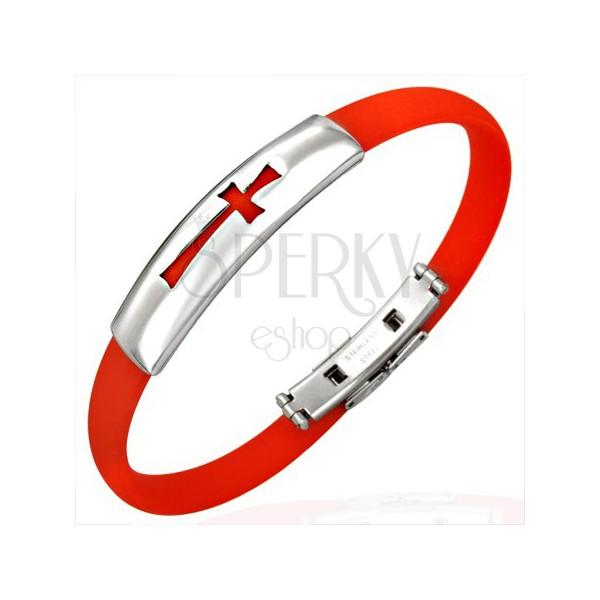 Prosta gumowa czerwona bransoletka - krzyż