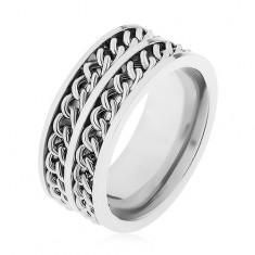 Pierścionek ze stali 316L srebrnego koloru, dwa dekoracyjne łańcuszki, wysoki połysk