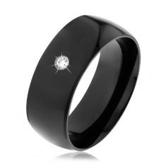 Czarna stalowa obrączka, lśniąca wypukła powierzchnia, okrągła przejrzysta cyrkonia