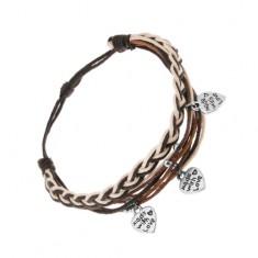 Bransoletka z brązowych, czarnych i białych sznurków, stalowe kuleczki i serduszka
