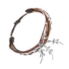 Pleciona bransoletka, różnokolorowe sznurki, stalowe ozdoby - kuleczki i jaszczurki