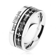 Stalowy pierścionek srebrnego koloru, czarne paski, celtyckie symbole