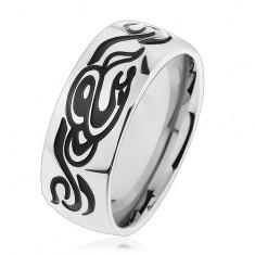 Obrączka ze stali chirurgicznej, lśniący srebrny kolor, wyrzeźbiony motyw tribala