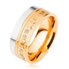 Stalowy pierścionek, dwukolorowy - srebrny i złoty odcień, ornamenty, 8 mm