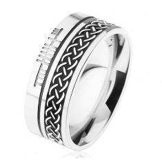 Pierścień ze stali chirurgicznej, wzór celtycki, srebrny kolor, 8 mm