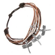 Regulowana bransoletka ze sznurków, biały, czarny, brązowy kolor, zawieszka - ważka