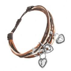 Regulowana bransoletka, beżowe, czarne i brązowe sznurki, zawieszka - kłódka