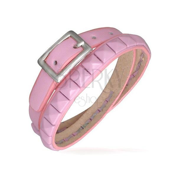 Podwójna różowa skórzana bransoletka - wybijane piramidy