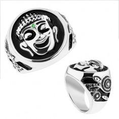 Masywny pierścionek, stal 316L, srebrny kolor, czarna emalia, uśmiechnięty Budda