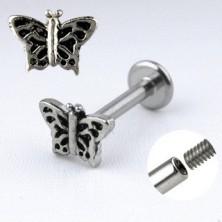 Stalowy piercing do brody - motyl z karbowanymi skrzydłami