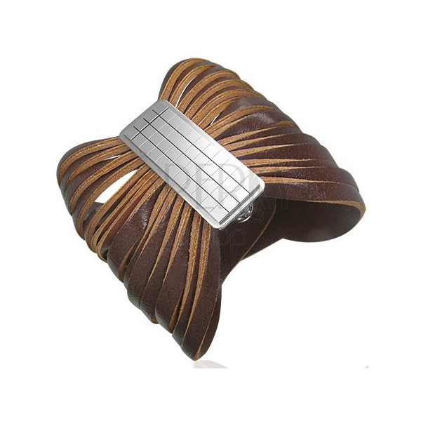 Brązowa skórzana bransoletka ze spinką - szachownica