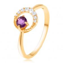 Złoty pierścionek 375 - cienki cyrkoniowy półksiężyc, ametyst w fioletowym odcieniu