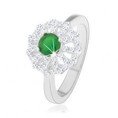 Pierścionek ze srebra 925, kwiat z zarysami przejrzystych płatków, zielony cyrkoniowy środek