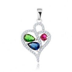 Wisiorek ze srebra 925, cyrkoniowy kontur asymetrycznego serca, kolorowe cyrkonie