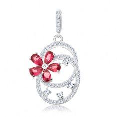 Srebrny wisiorek 925, dwie połączone obręcze, różowy cyrkoniowy kwiatek