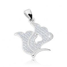Srebrny 925 wisiorek, błyszczący motyl, skrzydła z wycięciem i cyrkoniami